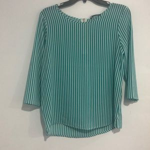Green stripe pants and top
